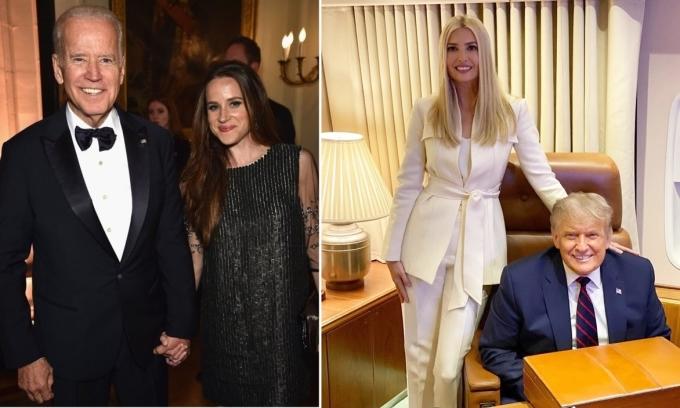 Cha con Biden (trái) và cha con Trump. Ảnh: Twitter/andelawson - Instagram/ivankatrump