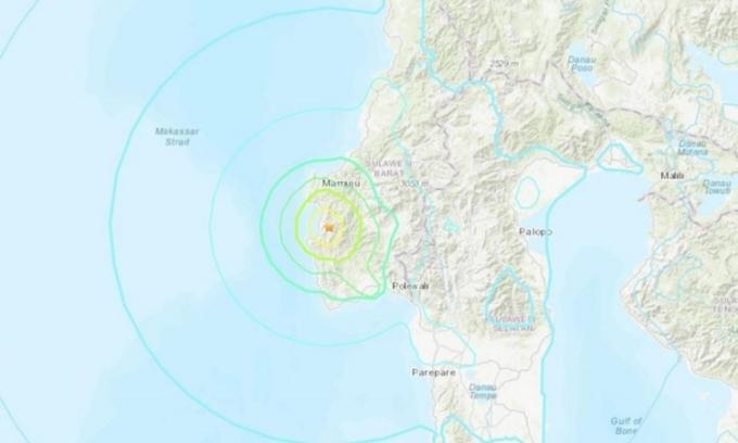 Vị trí xảy ra trận động đất hôm nay ở Indonesia. Đồ họa: USGS.