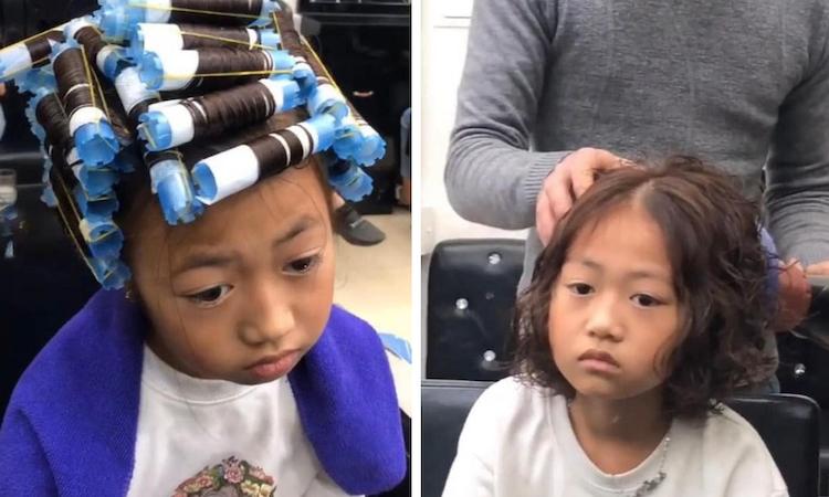 Bé gái thẩn thờ khi mẹ dẫn đi uốn tóc