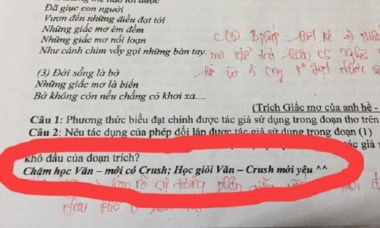Giáo viên khuyến khích 'học giỏi văn Crush mới yêu'