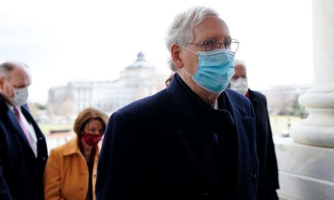 Lãnh đạo phe Cộng hòa tại Thượng viện McConnell tại quốc hội hôm 20/1. Ảnh: Reuters.
