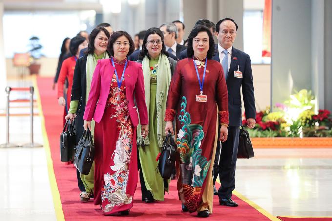 Đại biểu đã có mặt tại trung tâm hội nghị quốc gia để dự phiên họp trù bị Đại hội XIII.