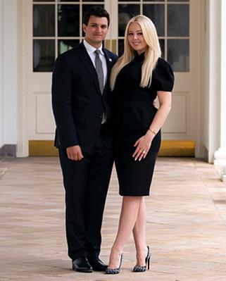 Tiffany và hôn phu Michael Boulos đứng ở hành lang Nhà Trắng. Ảnh:Instagram/Tiffany Trump.