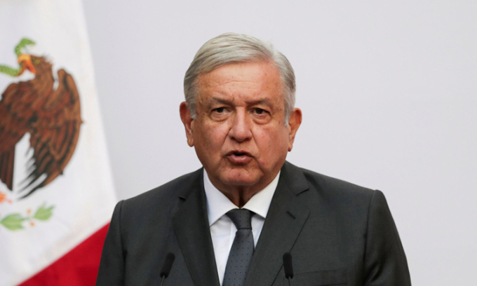 Tổng thống Mexico Andrés Manuel López Obrador phát biểu tại Cung điện Quốc gia ở thủ đô Mexico City tháng trước. Ảnh: Reuters.