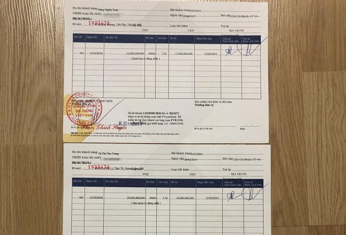 Sổ tiết kiệm của anh Toàn mở ở PVComBank. Ảnh: Nhân vật cung cấp