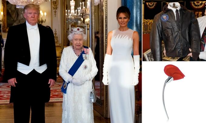 Vợ chồng Trump và Nữ Hoàng Anh (giữa) tại London năm 2019, phía bên phải các món quà của Trump. Ảnh: Reuters.