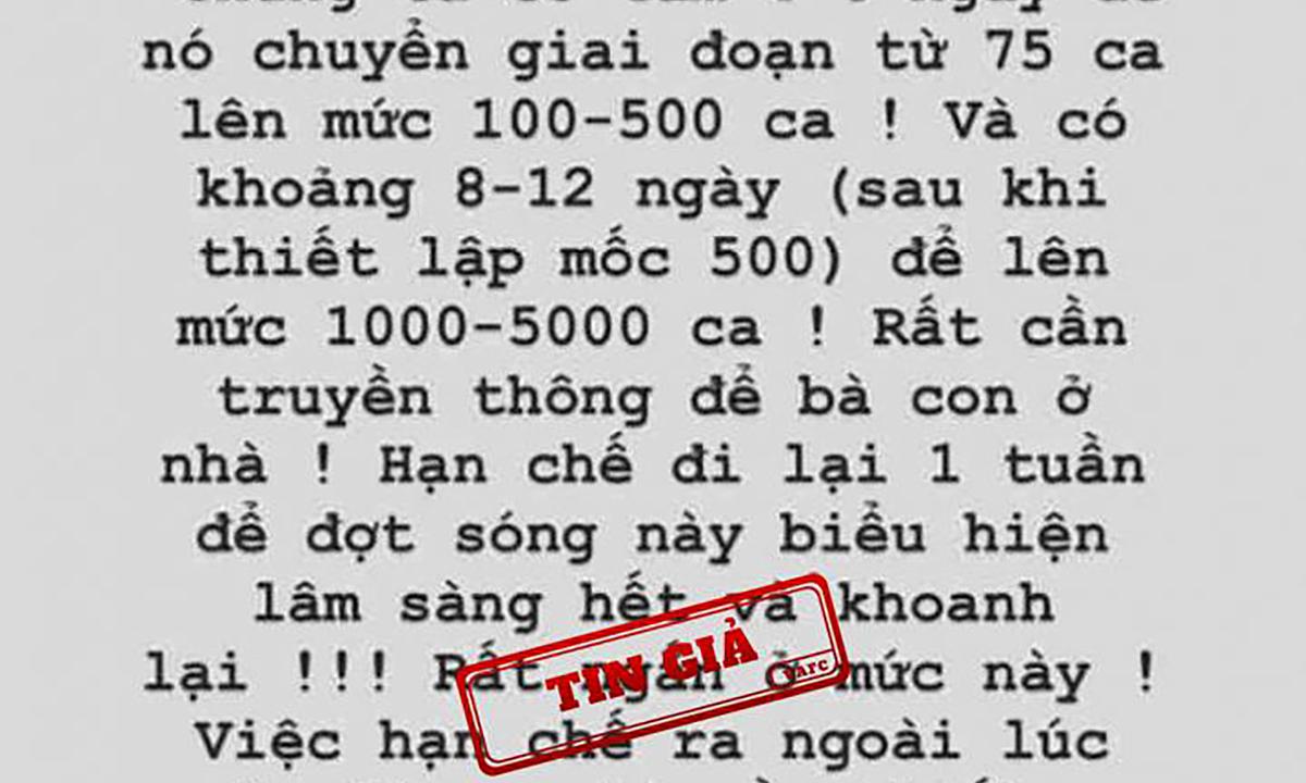 Tin giả về phát biểu của Phó thủ tướng Vũ Đức Đam được chia sẻ. Ảnh: Trung tâm tin giả