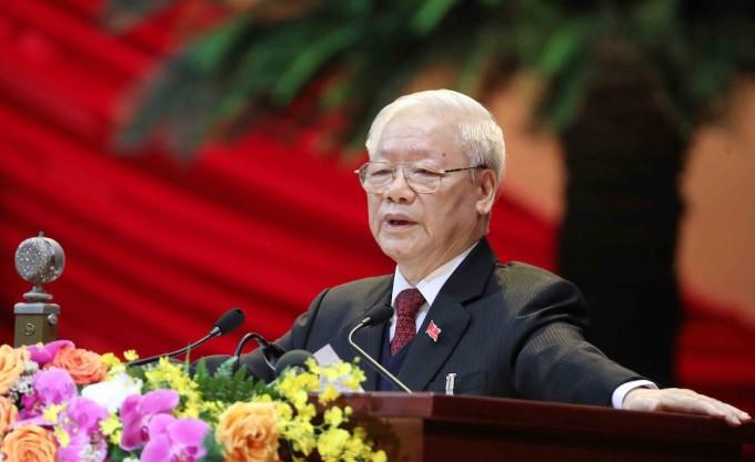 Tổng bí thư, Chủ tịch nước Nguyễn Phú Trọng phát biểu tại phiên khai mạc Đại hội XIII, ngày 26/1. Ảnh: TTXVN