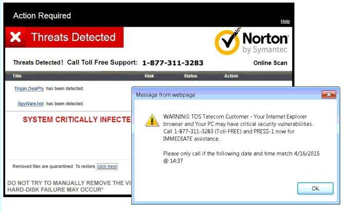 Bạn đừng hoảng loạn khi màn hình bất ngờ xuất hiện tin nhắn cảnh báo máy tính bị nhiễm virus. Ảnh: Tdstelecom.