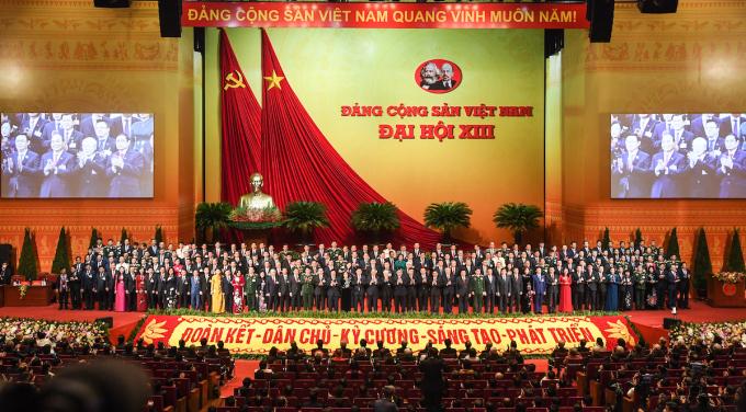 Ban chấp hành Trung ương Đảng khóa XIII ra mắt Đại hội. Ảnh: Giang Huy
