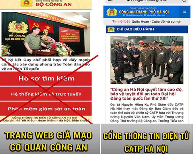 Trang web giả mạo công an. Ảnh: Công an Hà Nội.