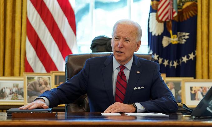 Tổng thống Joe Biden tại Nhà Trắng, thủ đô Washington hôm 28/1. Ảnh: Reuters.