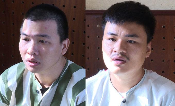 Hồng (trái) và Triệu tại Công an tỉnh Bà Rịa - Vũng Tàu. Ảnh: Quang Bình.