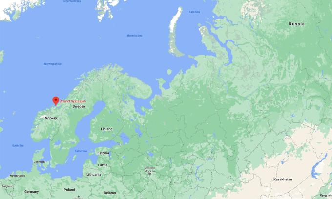 Vị trí căn cứ Ørland của Na Uy. Đồ họa: Google.