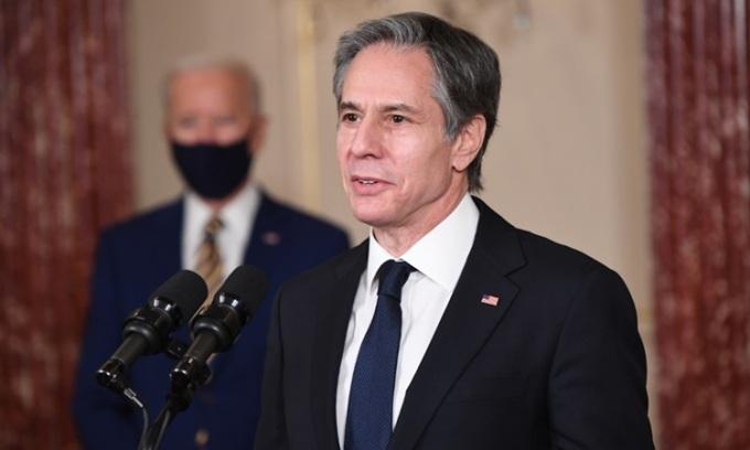 Ngoại trưởng Mỹ Anthony Blinken tại cuộc họp báo ở Bộ Ngoại giao hôm 4/2. Ảnh: AFP.