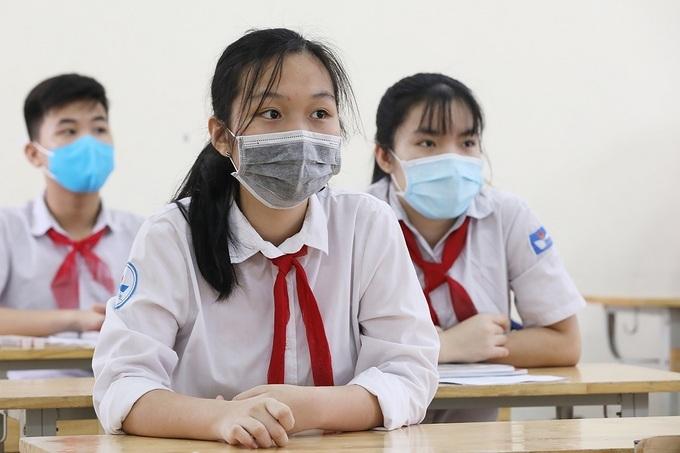 Học sinh trường THCS Nguyễn Du (Nam Từ Liêm, Hà Nội) đeo khẩu trang, tháng 8/2020. Ảnh: Ngọc Thành