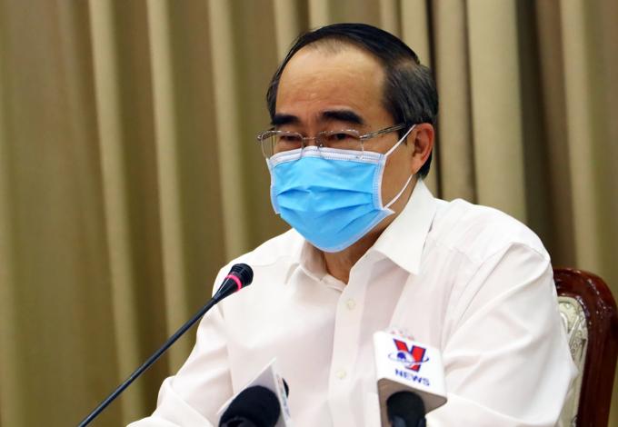 Nguyên bí thư Thành uỷ TP HCM Nguyễn Thiện Nhân tại cuộc họp. Ảnh: Trung tâm báo chí TP HCM.