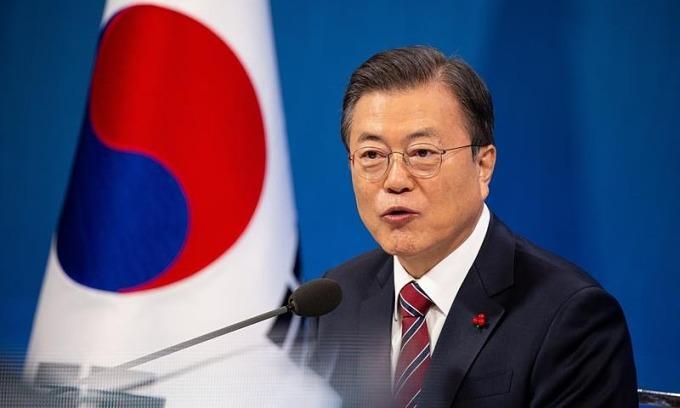 Tổng thống Hàn Quốc Moon Jae-in tại Seoul hồi tháng một. Ảnh: Reuters.