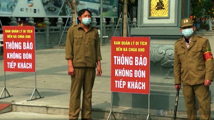 Các chốt phòng chống dịch, kiểm soát ở các khu du lịch, đền chùa ở Bắc Ninh. Ảnh: Bắc Ninh TV