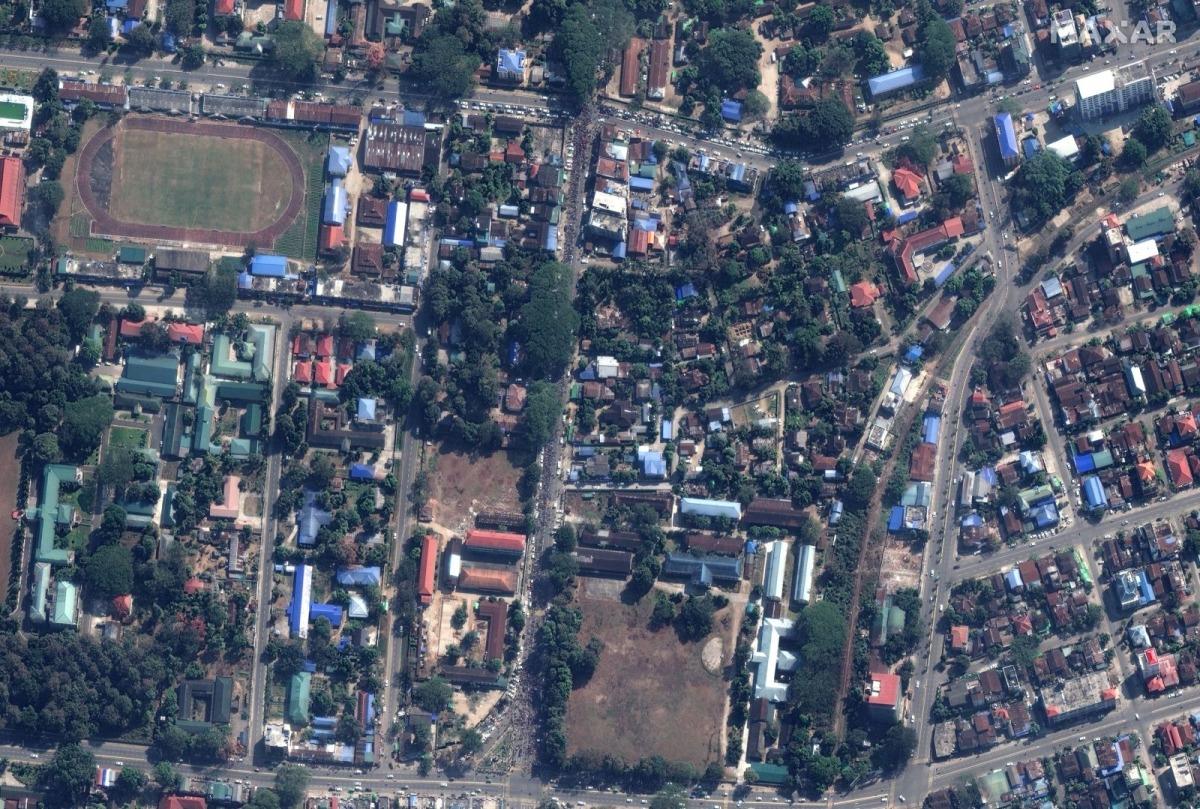 Biểu tình ở Myanmar qua ảnh vệ tinh