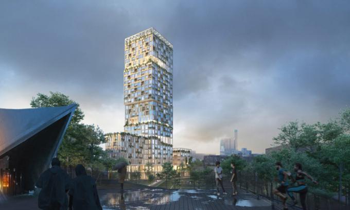 Thiết kế tòa nhà lai gỗ bê tông WoHo ở Berlin, Đức. Ảnh: Mad arkitekter.