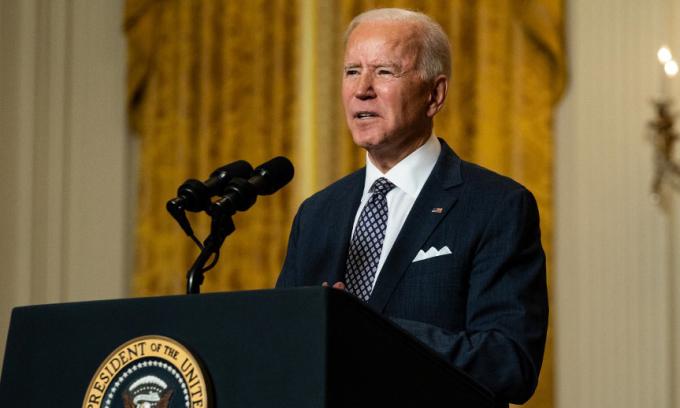 Tổng thống Mỹ Joe Biden phát biểu trong một sự kiện trực tuyến tại Nhà Trắng hôm 19/2. Ảnh: AFP.