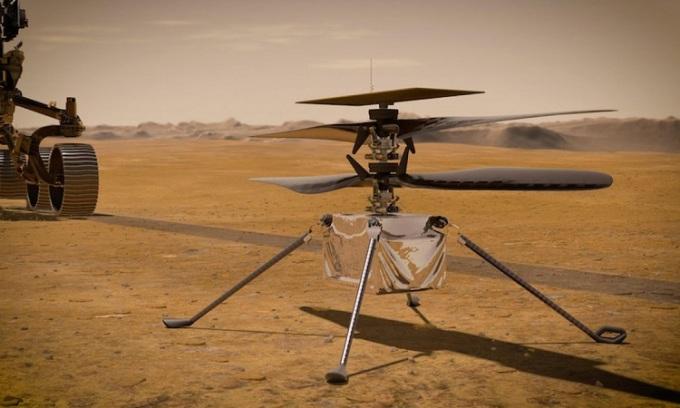 Mô phỏng trực thăng Ingenuity đậu trên sao Hỏa. Ảnh: NASA.