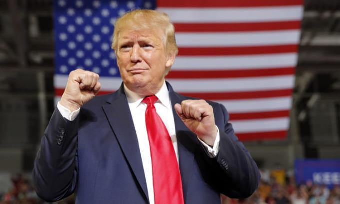 Cựu tổng thống Mỹ Donald Trump tại một cuộc vận động ở bang Bắc Carolina năm 2019. Ảnh: AP.