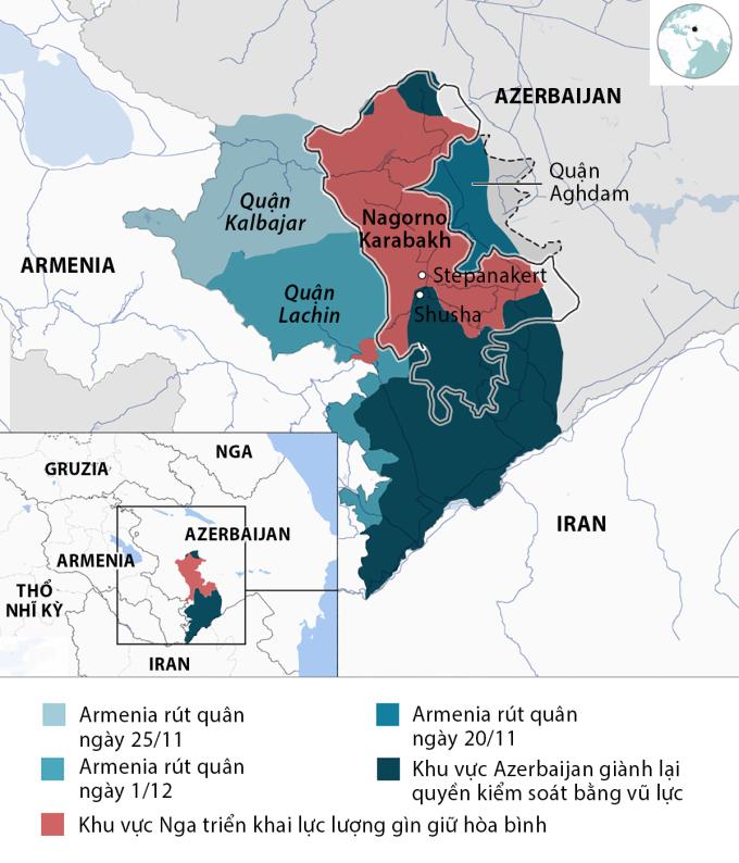 Nagorno-Karabakh và vùng lân cận sau thỏa thuận đình chiến tháng 11/2020. Đồ họa: BBC.