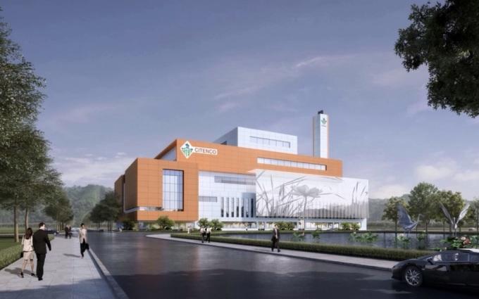 Phối cảnh nhà máy đốt rác phát điện sẽ được xây dựng tại huyện Củ Chi. Ảnh: CITENCO.