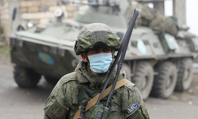 Quân nhân thuộc lực lượng gìn giữ hòa bình Nga tại Nagorno-Karabakh, tháng 12/2020. Ảnh: TASS.