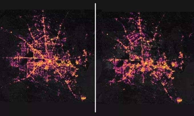 Thành phố Houston, Texas trước và sau khi bị mất điện trên diện rộng. Ảnh: NASA.