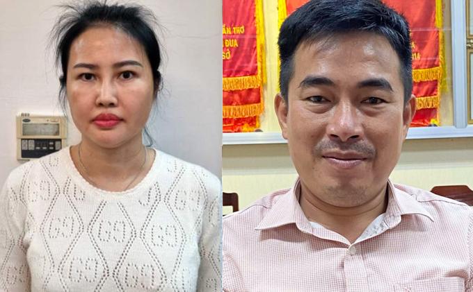 Bị can Hoàng Thị Thúy Nga và Lương Tấn Thành tại cơ quan điều tra. Ảnh: Cơ quan điều tra cung cấp.