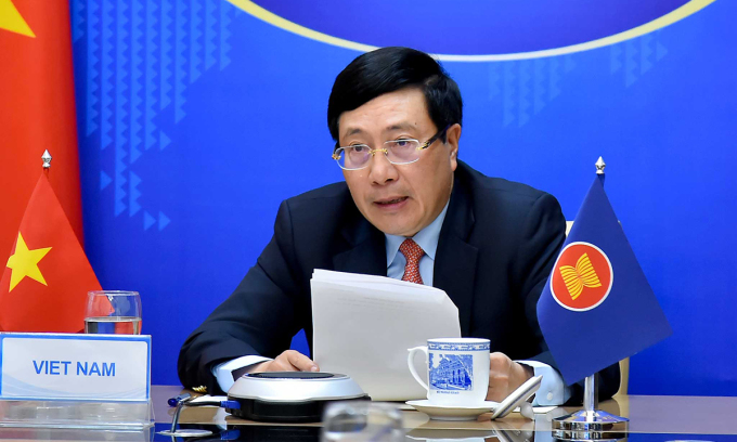 Phó Thủ tướng, Bộ trưởng Ngoại giao Phạm Bình Minh tại Hội nghị Bộ trưởng Ngoại giao ASEAN trực tuyến hôm nay. Ảnh: Bộ Ngoại giao.