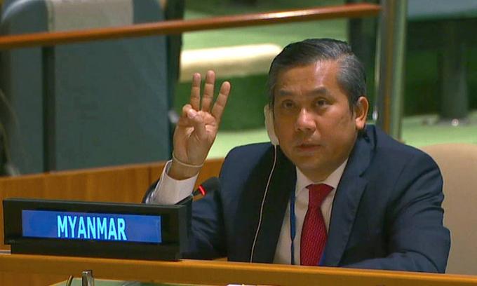 Ông Kyaw Moe Tun phát biểu trong phiên họp của Đại hội đồng Liên Hợp Quốc ngày 26/2. Ảnh: Reuters.