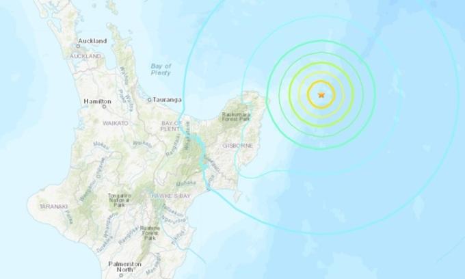 Vị trí xảy ra động đất (dấu sao) ngoài khơi bờ biển New Zeland sáng 5/4 (tối 4/3 giờ Hà Nội). Đồ họa: USGS.