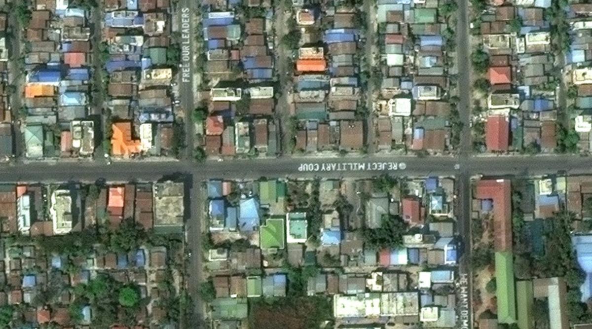 Biểu tình Myanmar nhìn từ vệ tinh