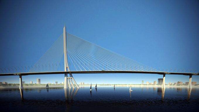 Phương án kiến trúc cầu Cần Giờ được chọn hồi tháng 4/2019. Ảnh:Sở Quy hoạch - Kiến trúc TP HCM.