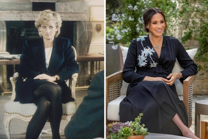 Công nương Diana trả lời phỏng vấn BBC về cuộc sống hoàng gia (trái) năm 1995. Con dâu bà, Meghan, trả lời phỏng vấn tương tự với đài CBS hôm 7/3. Ảnh: BBC/Reuters