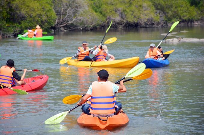 Du khách khám phá rừng ngập mặn ở trên đảo bằng thuyền kayak. Ảnh: An Phước.