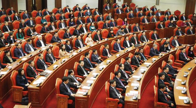 Đại biểu tham dự hội nghị Trung ương 2 (khóa XIII) ngày 9/3. Ảnh: VGP