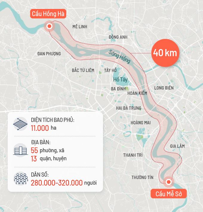 Quy hoạch phân khu đô thị sông Hồng có quy mô diện tích khoảng 11.000 ha, kéo dài 40 km từ cầu Hồng Hà đến cầu Mễ Sở. Đồ họa: Tạ Lư