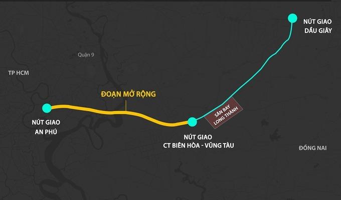 Phương án mở rộng cao tốc TP HCM - Long Thành - Dầu Giây. Đồ họa:Thanh Huyền.