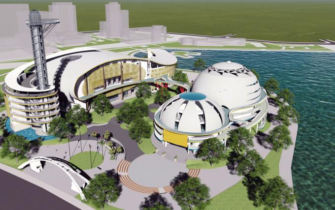 Phối cảnh mô hình kiến trúc dự án Cung thiếu nhi Hà Nội. Ảnh ban dự án cung cấp.