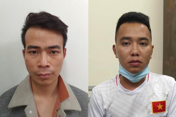 Nguyễn Văn Đức (trái) và Miều tại cơ quan điều tra. Ảnh: Công an cung cấp.