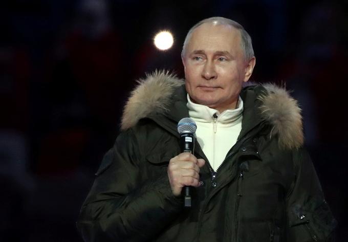 Tổng thống Putin dự một sự kiện ở Moskva, Nga, hôm 18/3. Ảnh: Reuters.