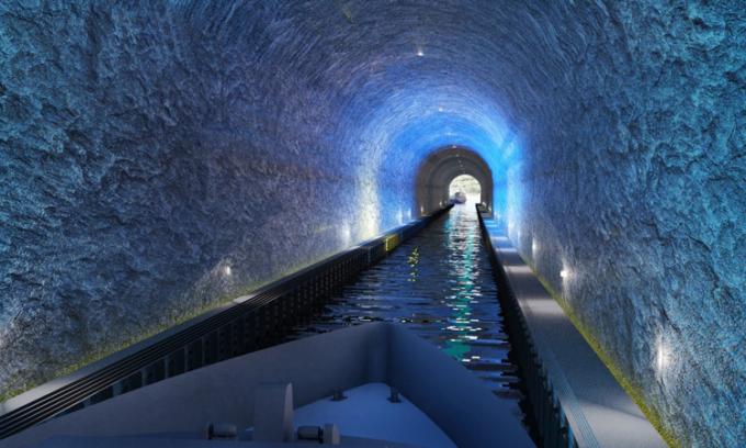 Đường hầm dài tổng cộng 1.700 m. Ảnh: Kystverket/Snohetta.