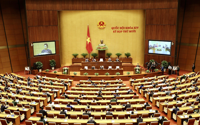 Các đại biểu làm việc tại Hội trường Diên Hồng, kỳ họp thứ 10 Quốc hội khoá XIV. Ảnh: Quochoi.vn