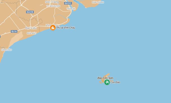 Vị trí thị xã Vĩnh Châu (Sóc Trăng) và Côn Đảo trên bản đồ. Ảnh: Google Maps.