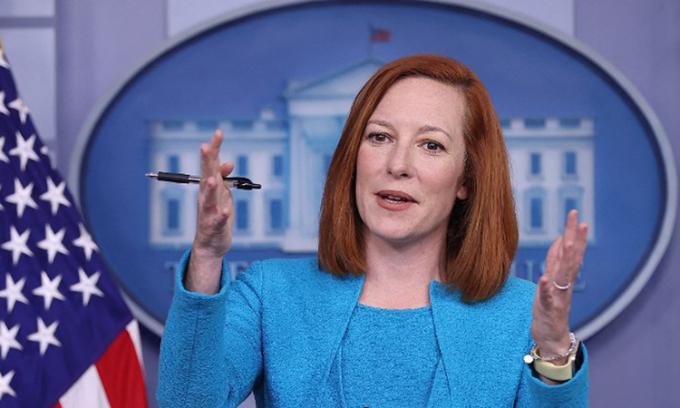 Thư ký báo chí Nhà Trắng Jen Psaki tại cuộc họp báo hôm 22/3. Ảnh: AFP.